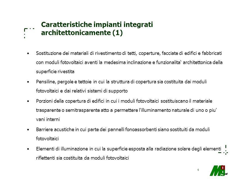 Caratteristiche impianti integrati architettonicamente (1)