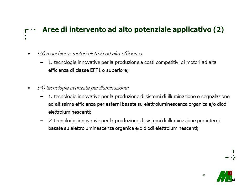 Aree di intervento ad alto potenziale applicativo (2)
