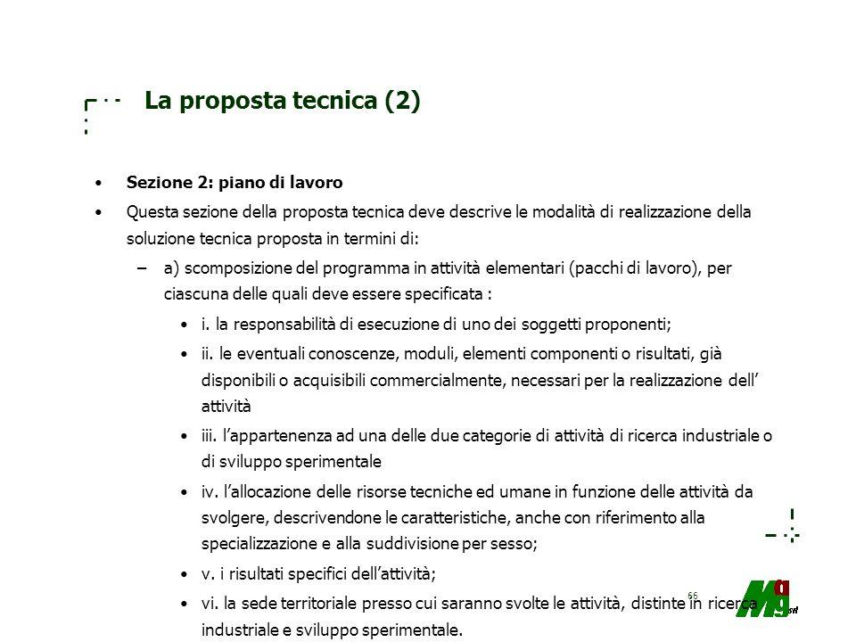 La proposta tecnica (2) Sezione 2: piano di lavoro