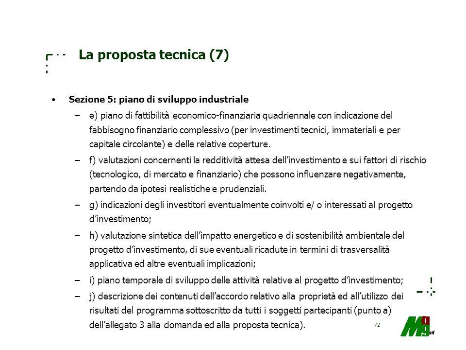 La proposta tecnica (7) Sezione 5: piano di sviluppo industriale