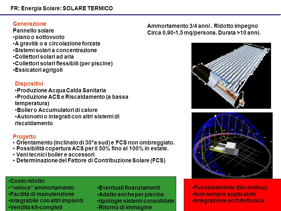 FR: Energia Solare: SOLARE TERMICO