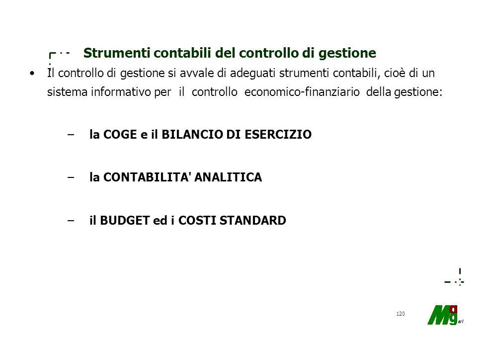 Strumenti contabili del controllo di gestione