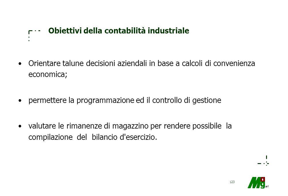 Obiettivi della contabilità industriale