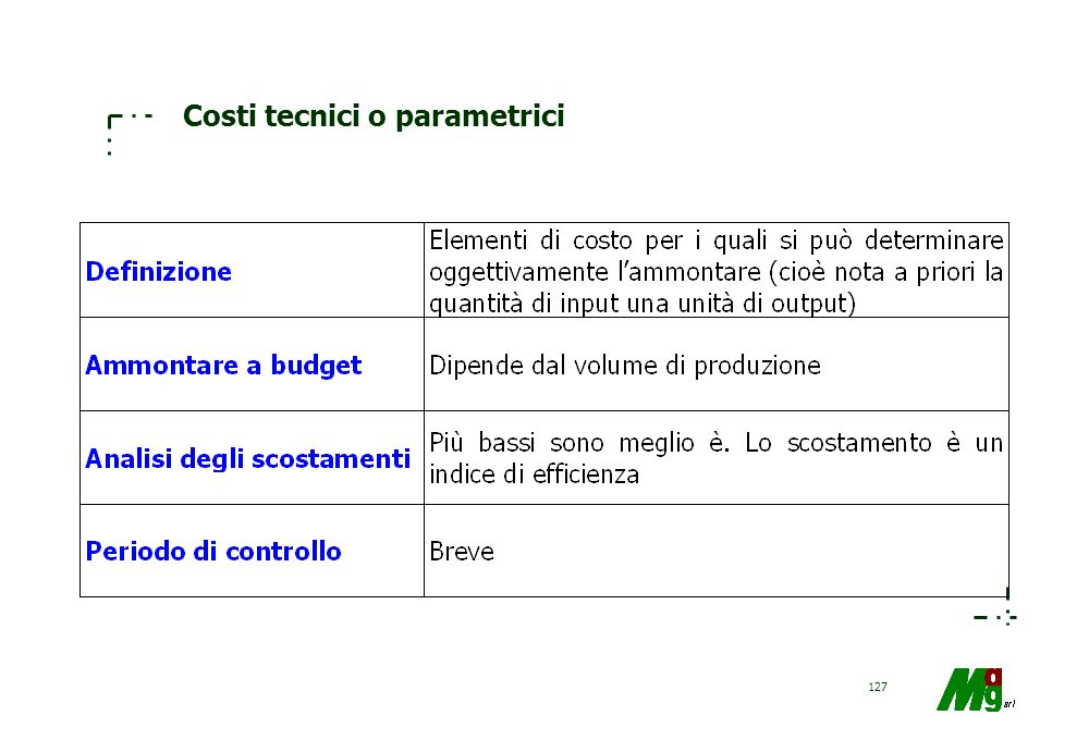 Costi tecnici o parametrici