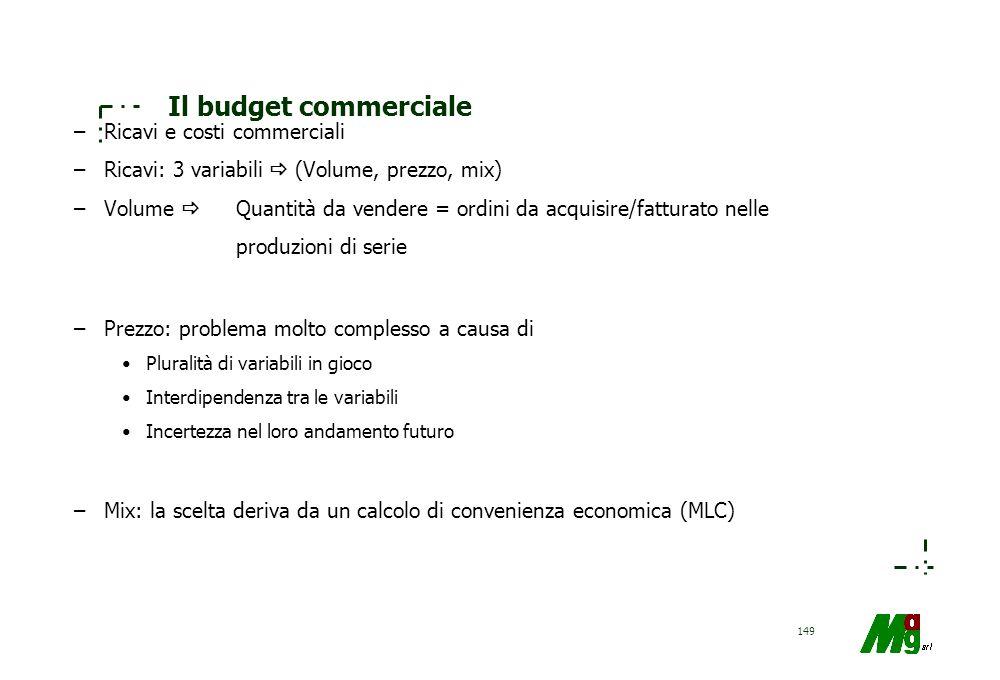 Il budget commerciale Ricavi e costi commerciali