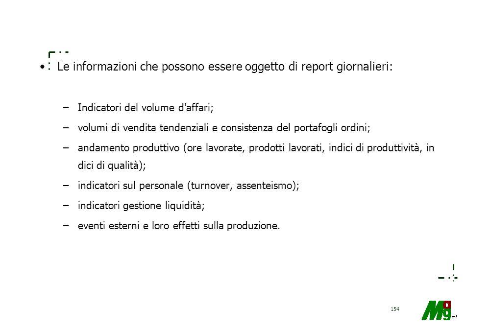 Le informazioni che possono essere oggetto di report giornalieri:
