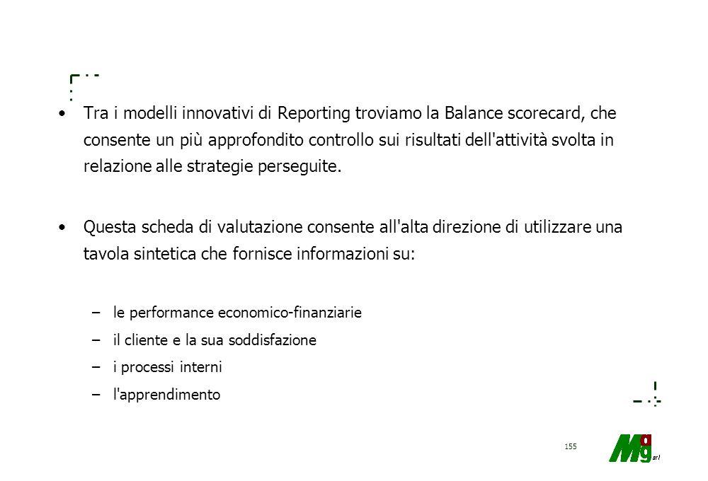 Tra i modelli innovativi di Reporting troviamo la Balance scorecard, che consente un più approfondito controllo sui risultati dell attività svolta in relazione alle strategie perseguite.