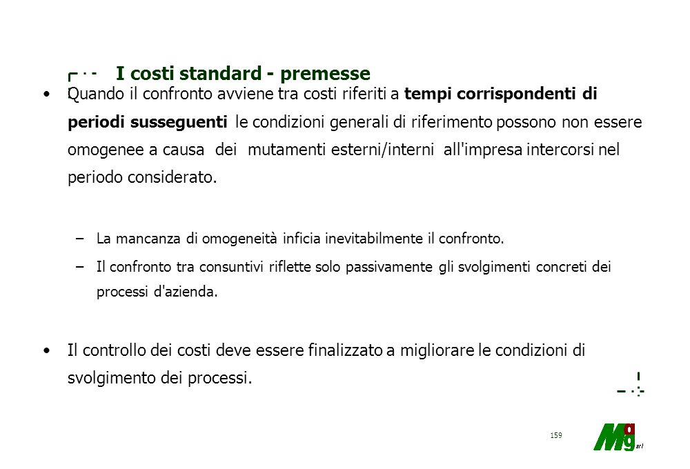 I costi standard - premesse