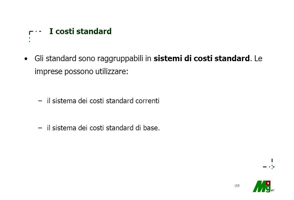 I costi standard Gli standard sono raggruppabili in sistemi di costi standard. Le imprese possono utilizzare: