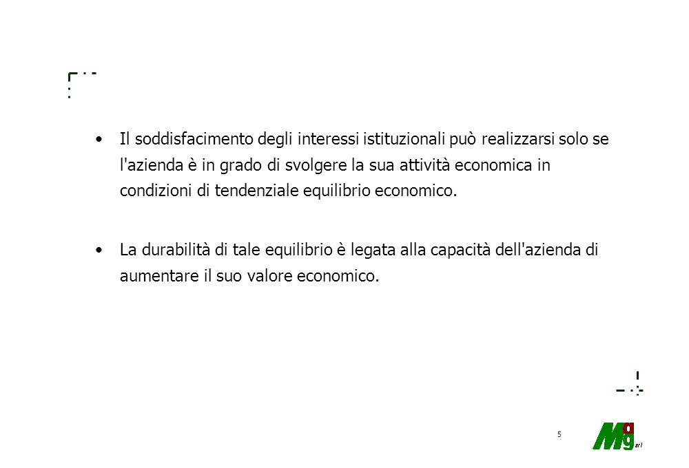 Il soddisfacimento degli interessi istituzionali può realizzarsi solo se l azienda è in grado di svolgere la sua attività economica in condizioni di tendenziale equilibrio economico.
