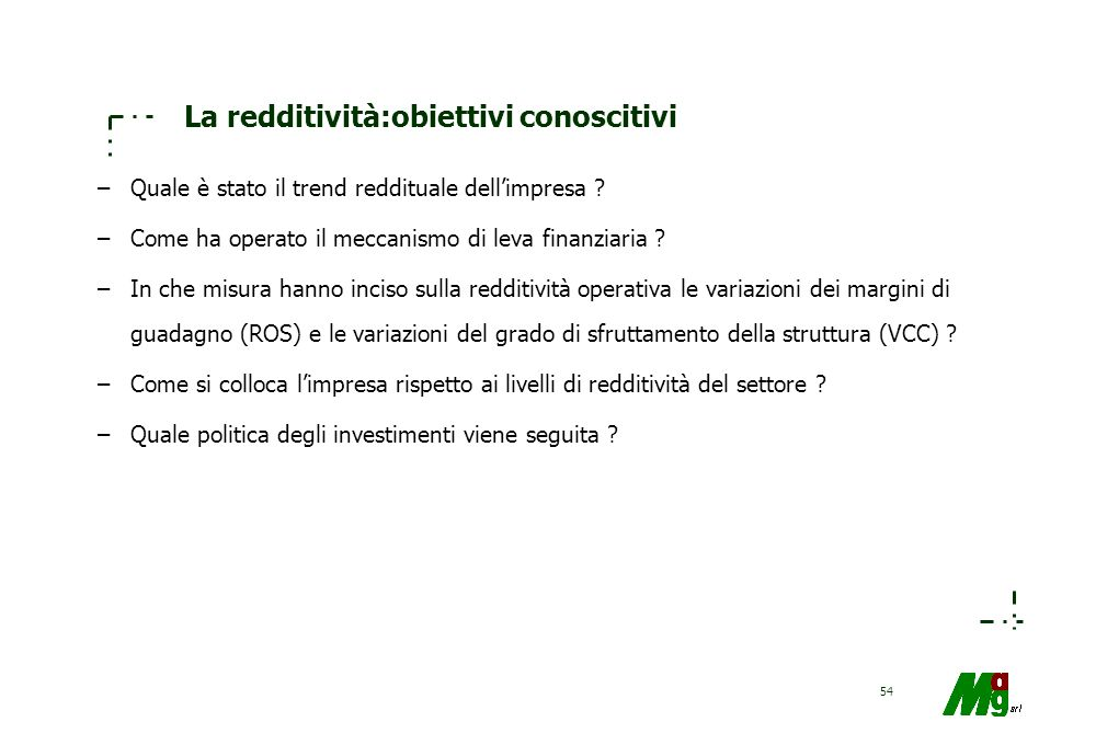 La redditività:obiettivi conoscitivi