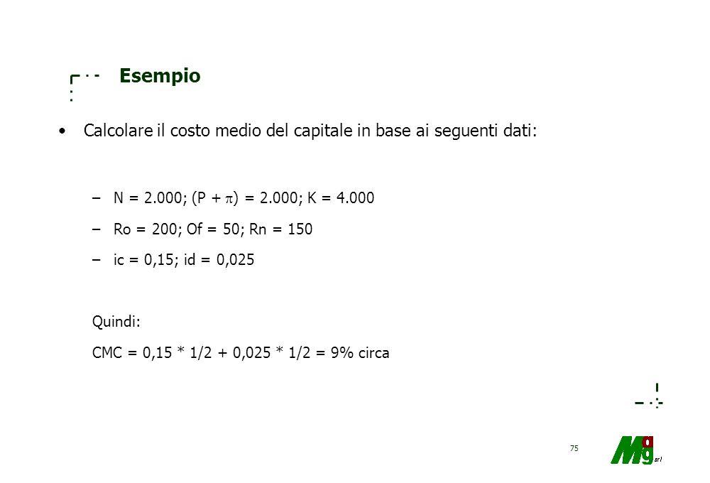 Esempio Calcolare il costo medio del capitale in base ai seguenti dati: N = 2.000; (P + ) = 2.000; K = 4.000.