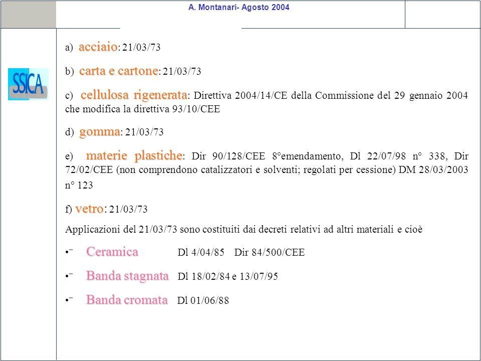 a) acciaio: 21/03/73 b) carta e cartone: 21/03/73.