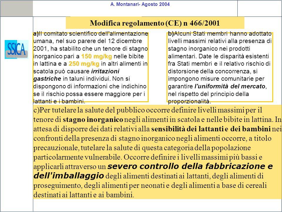 Modifica regolamento (CE) n 466/2001