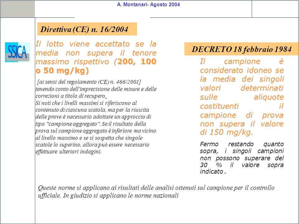 Direttiva (CE) n. 16/2004 DECRETO 18 febbraio 1984
