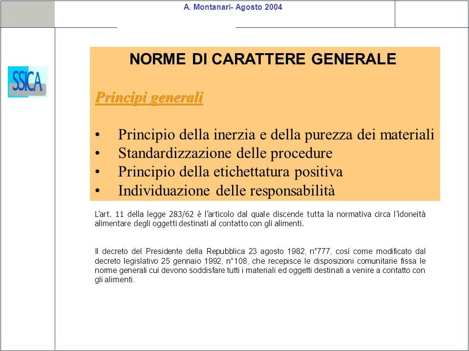 NORME DI CARATTERE GENERALE Principi generali