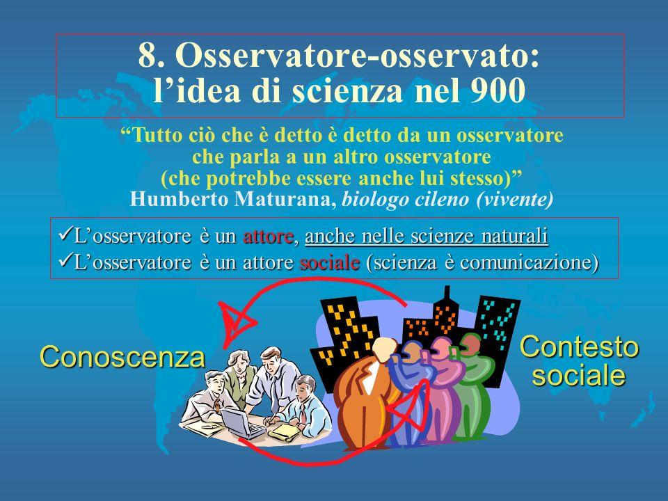 8. Osservatore-osservato: l'idea di scienza nel 900
