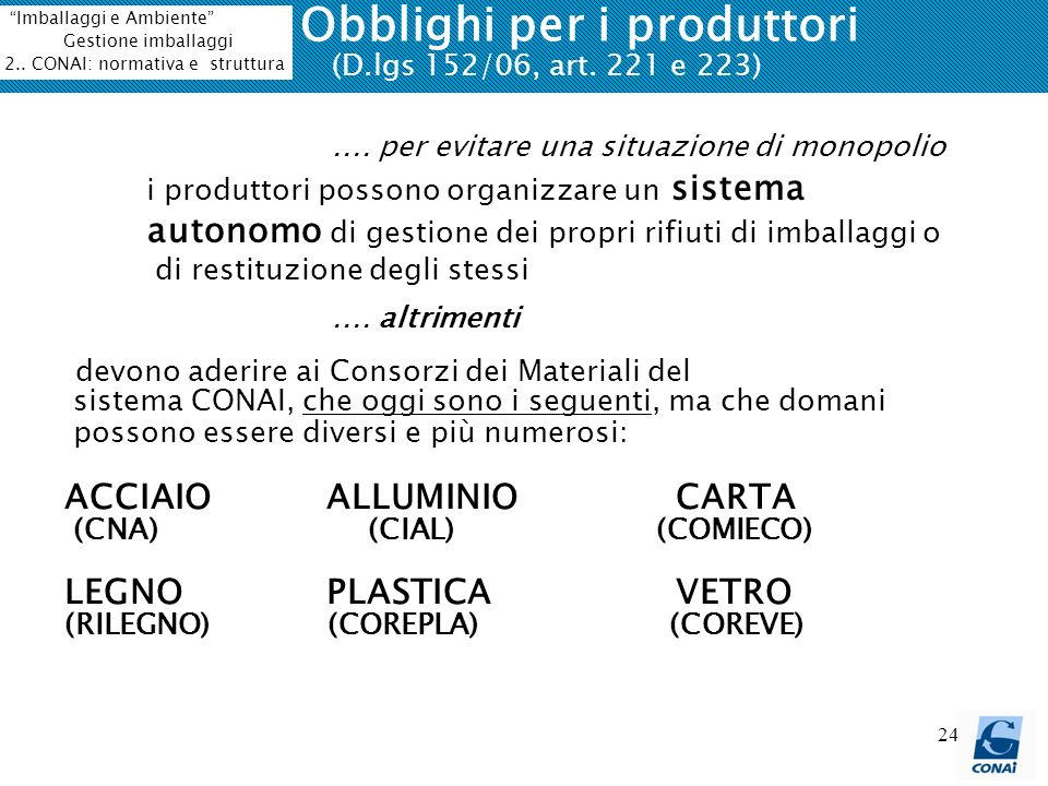 Obblighi per i produttori (D.lgs 152/06, art. 221 e 223)