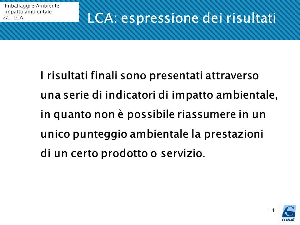 LCA: espressione dei risultati
