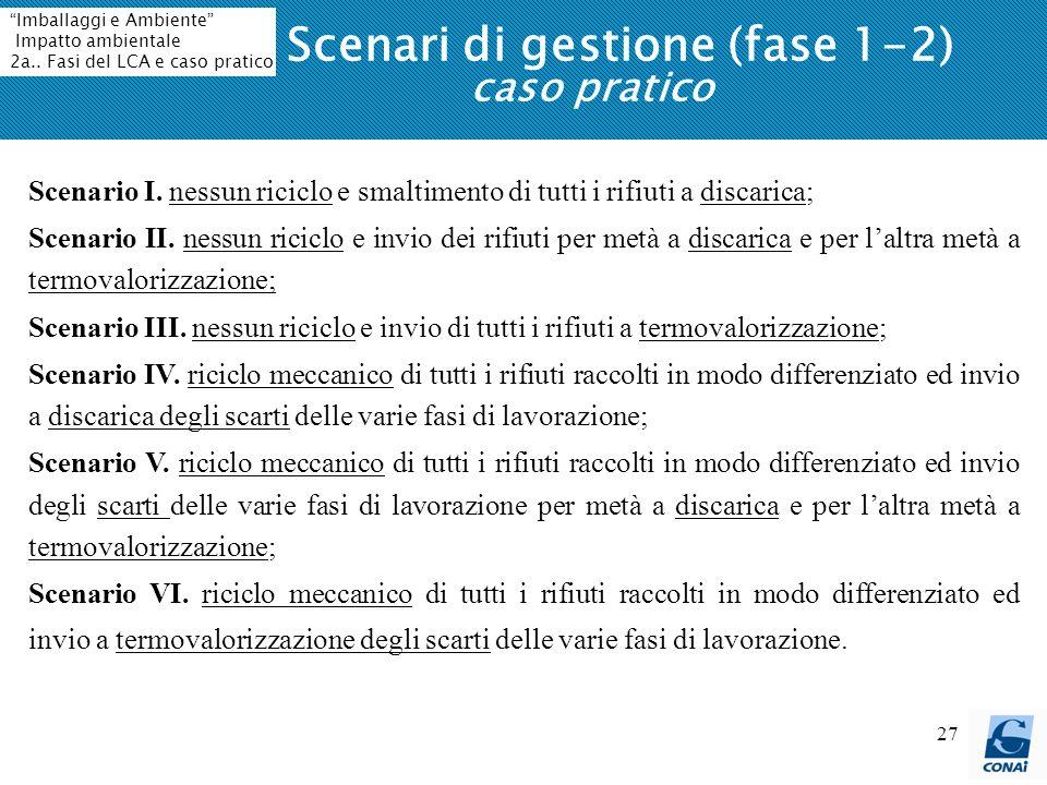 Scenari di gestione (fase 1-2) caso pratico