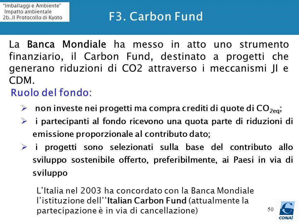 F3. Carbon Fund Imballaggi e Ambiente Impatto ambientale. 2b..Il Protocollo di Kyoto.