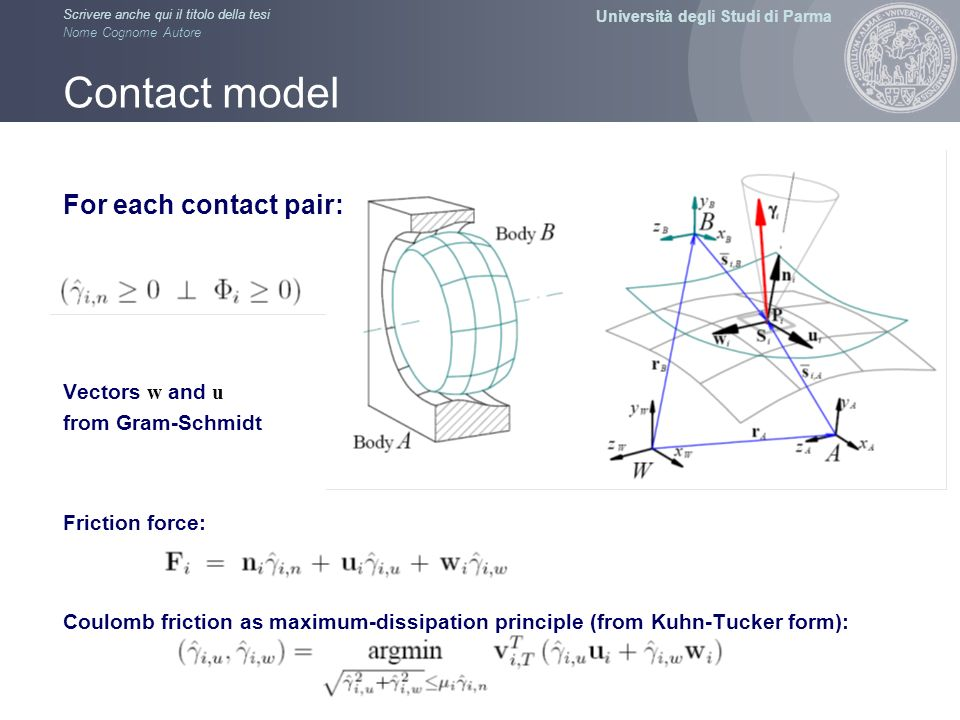 Contact model For each contact pair: Vectors w and u from Gram-Schmidt