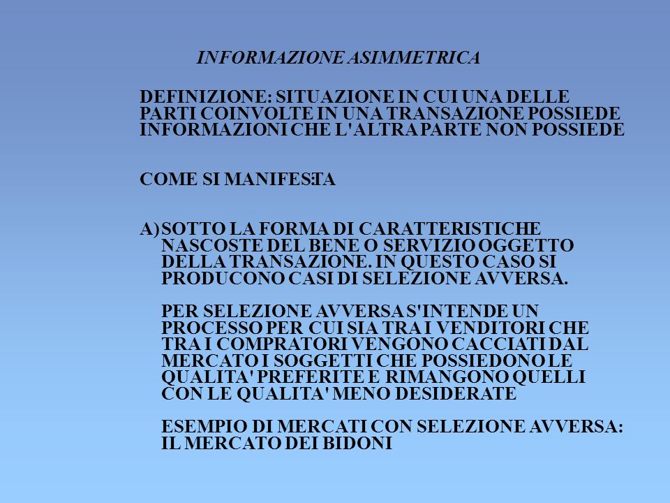 INFORMAZIONE ASIMMETRICA