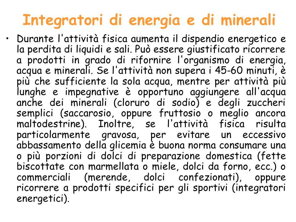 Integratori di energia e di minerali