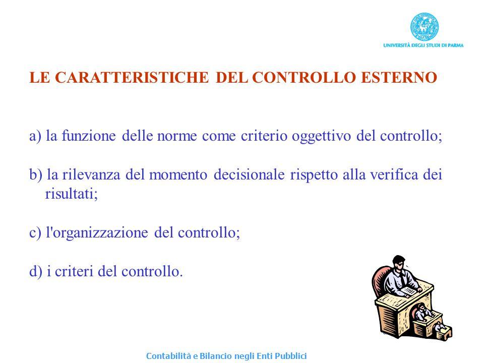 LE CARATTERISTICHE DEL CONTROLLO ESTERNO