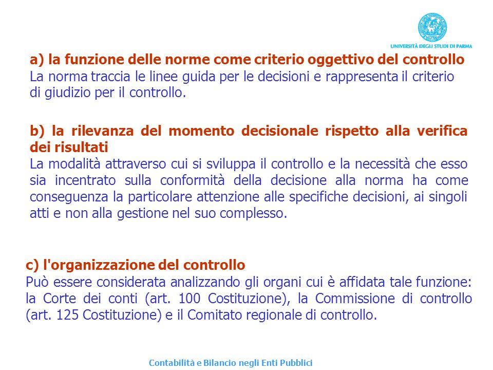 a) la funzione delle norme come criterio oggettivo del controllo
