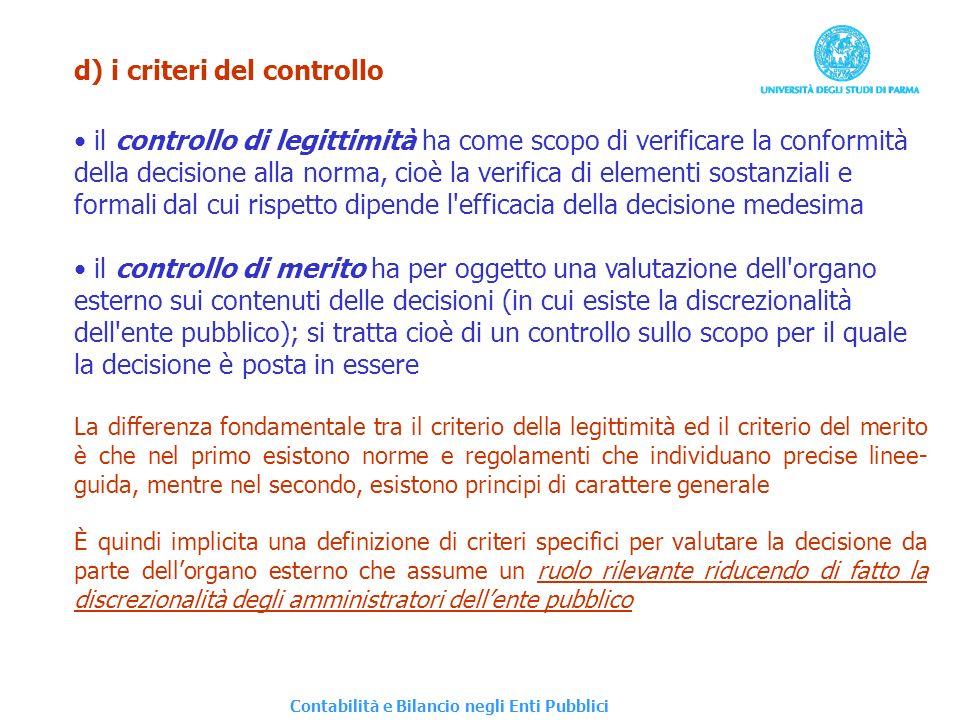 d) i criteri del controllo