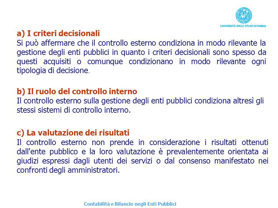 a) I criteri decisionali