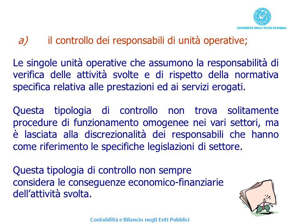 a) il controllo dei responsabili di unità operative;