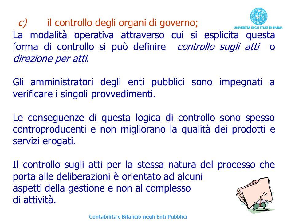 c) il controllo degli organi di governo;