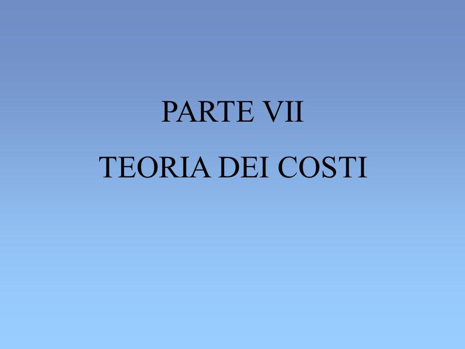 PARTE VII TEORIA DEI COSTI