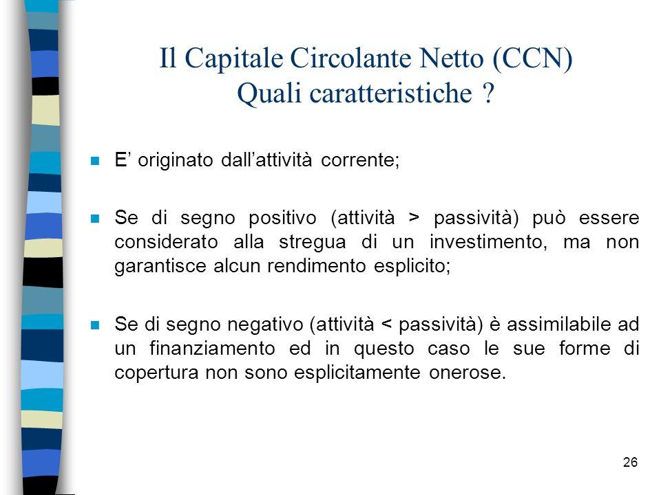 Il Capitale Circolante Netto (CCN) Quali caratteristiche
