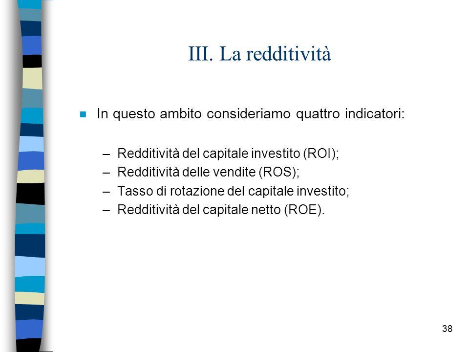 III. La redditività In questo ambito consideriamo quattro indicatori: