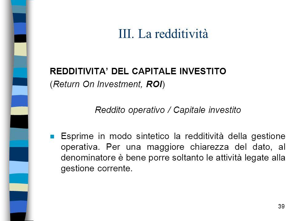 Reddito operativo / Capitale investito