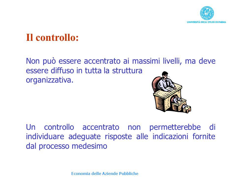 Il controllo: Non può essere accentrato ai massimi livelli, ma deve essere diffuso in tutta la struttura.