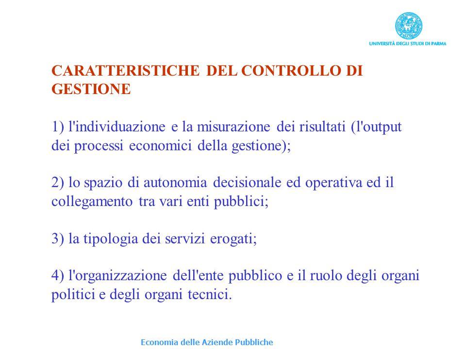 CARATTERISTICHE DEL CONTROLLO DI GESTIONE