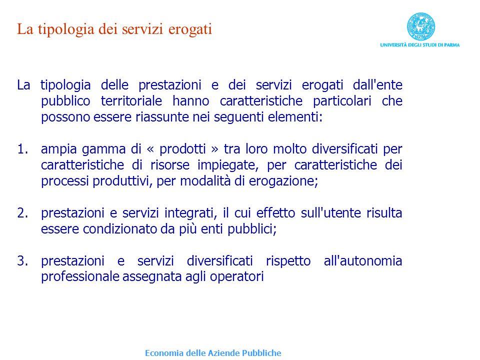 La tipologia dei servizi erogati