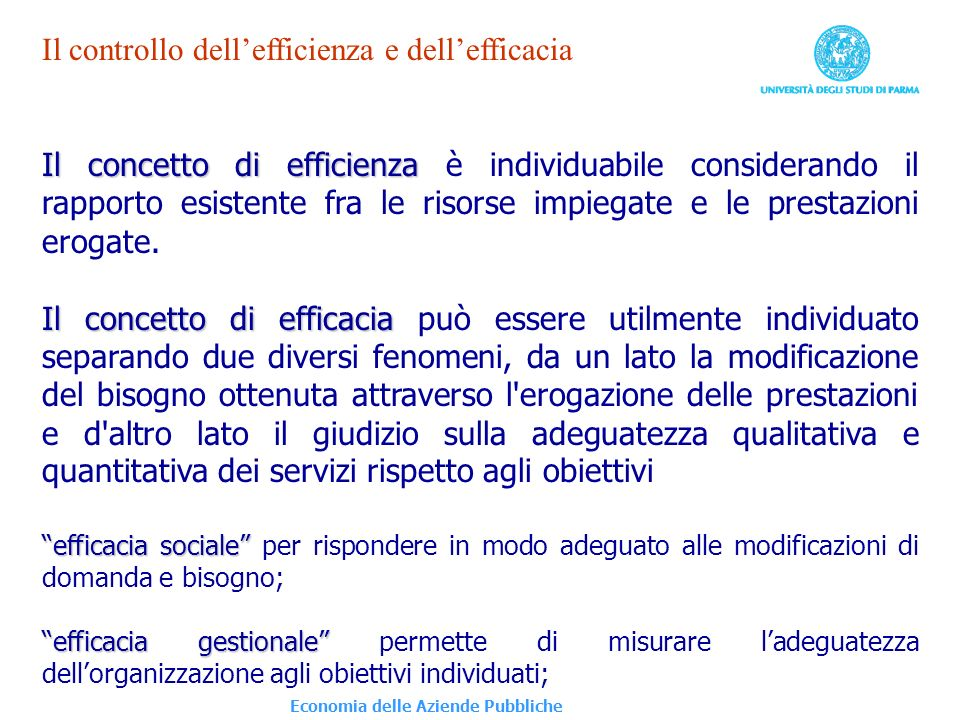 Il controllo dell'efficienza e dell'efficacia