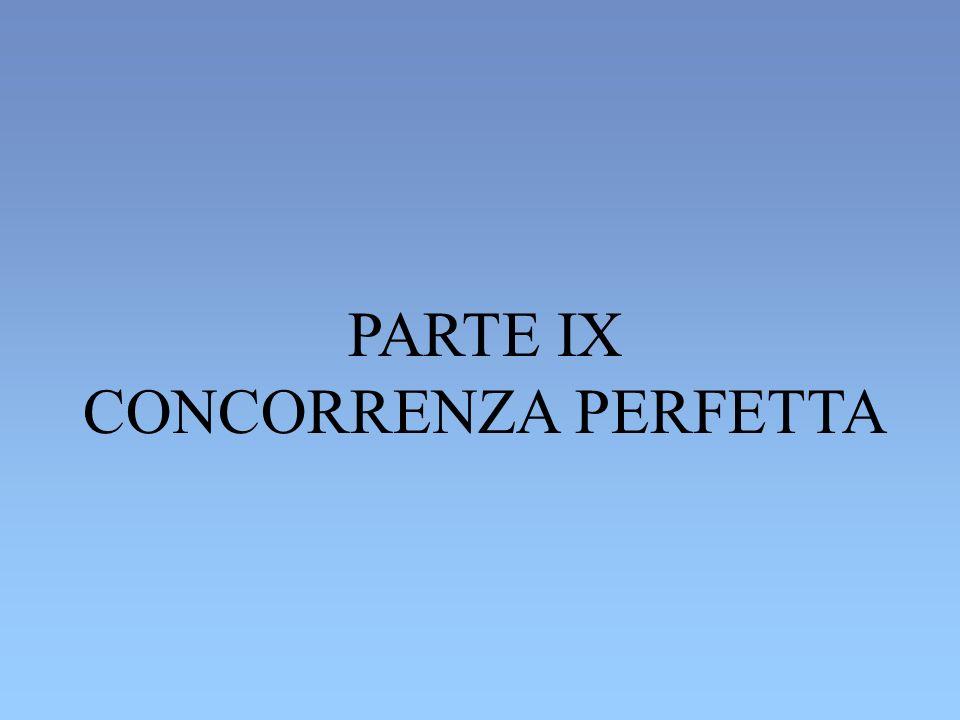 PARTE IX CONCORRENZA PERFETTA