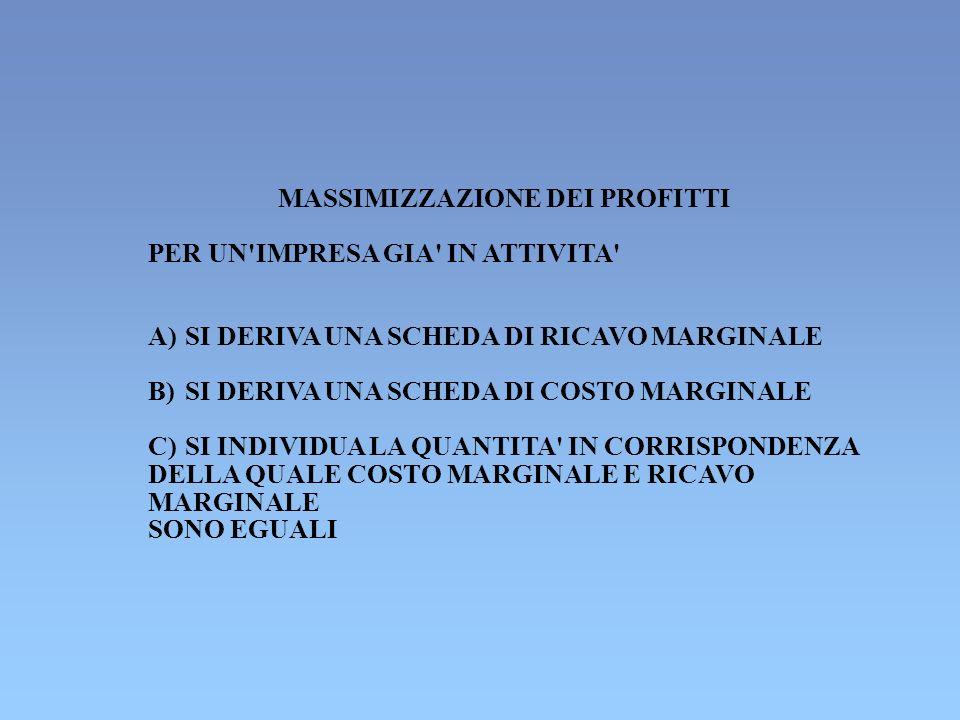 MASSIMIZZAZIONE DEI PROFITTI