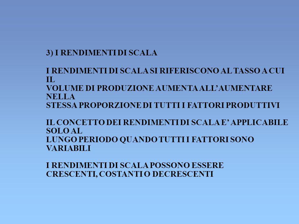 3) I RENDIMENTI DI SCALA I RENDIMENTI DI SCALA SI RIFERISCONO AL TASSO A CUI. IL. VOLUME DI PRODUZIONE AUMENTA ALL'AUMENTARE.