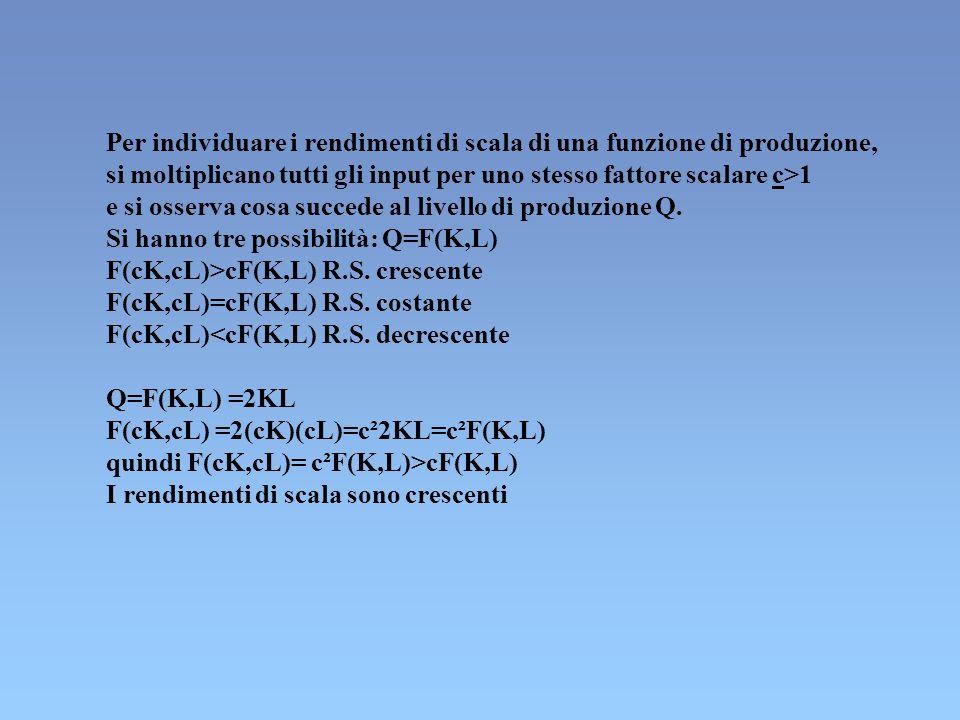 Per individuare i rendimenti di scala di una funzione di produzione,
