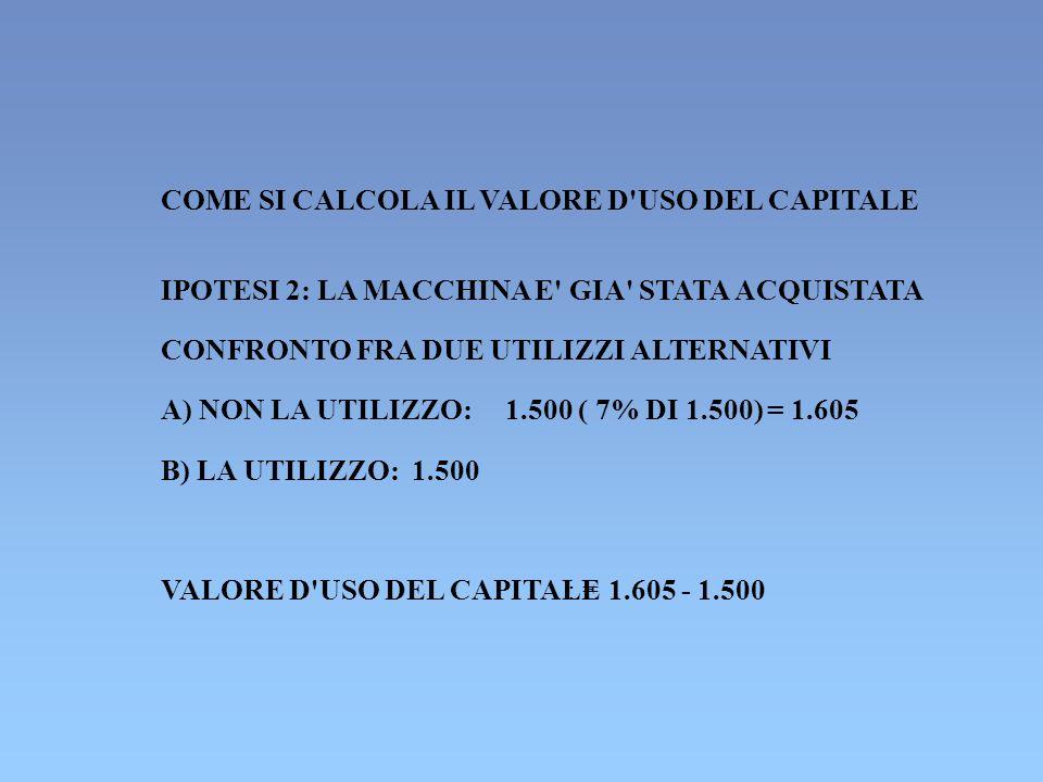 COME SI CALCOLA IL VALORE D USO DEL CAPITALE