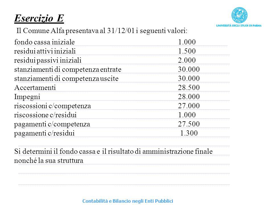 Esercizio E Il Comune Alfa presentava al 31/12/01 i seguenti valori:
