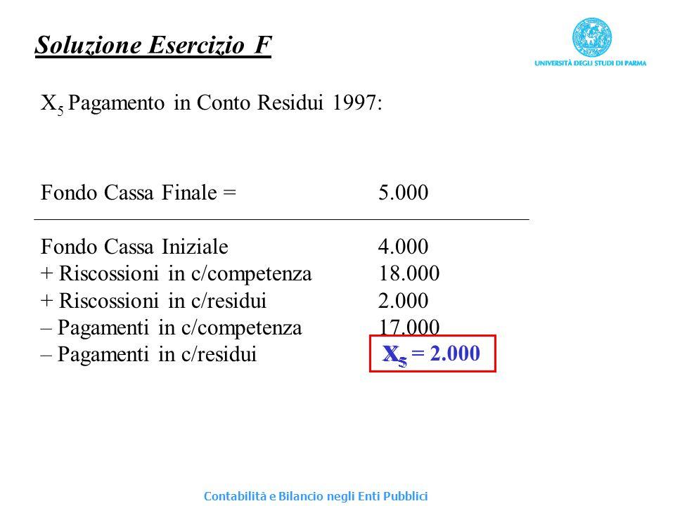 Soluzione Esercizio F X5 Pagamento in Conto Residui 1997: