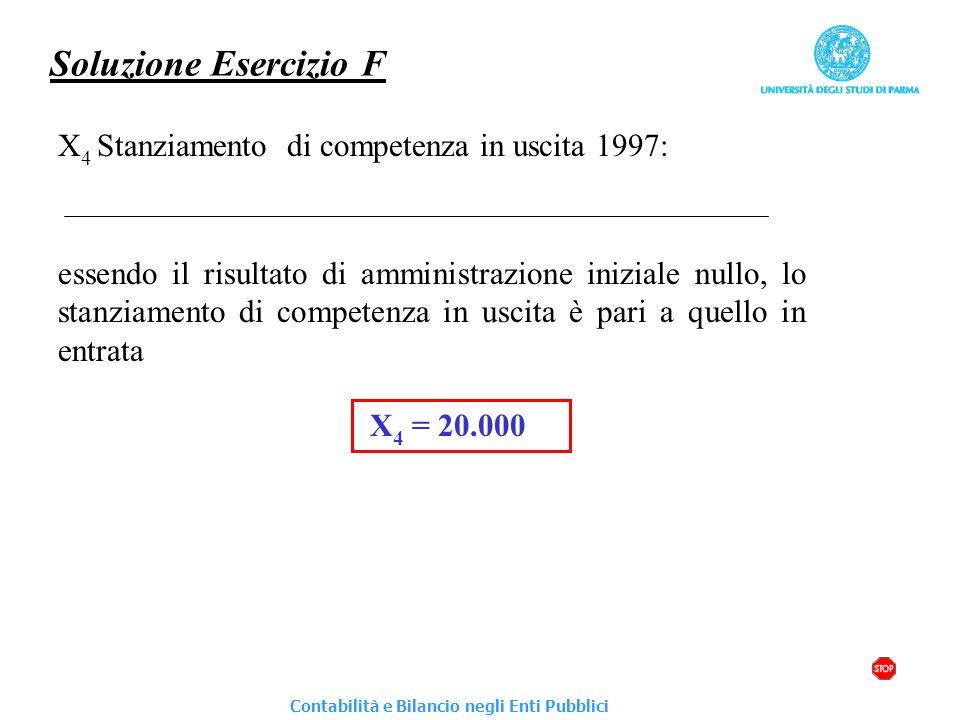 Soluzione Esercizio F X4 Stanziamento di competenza in uscita 1997: